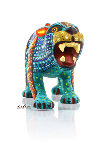 Blue Tones Jaguar Alebrije Hand Carved Wood / Hand Painted Mexican Jaguar ALEBRIJES - CARVED PIECES