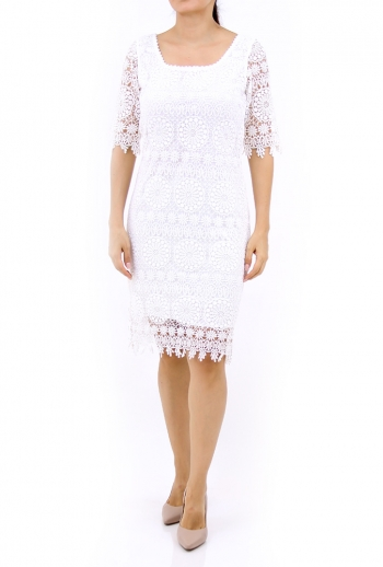 Cute White Cotton Lace Dress DRESSES