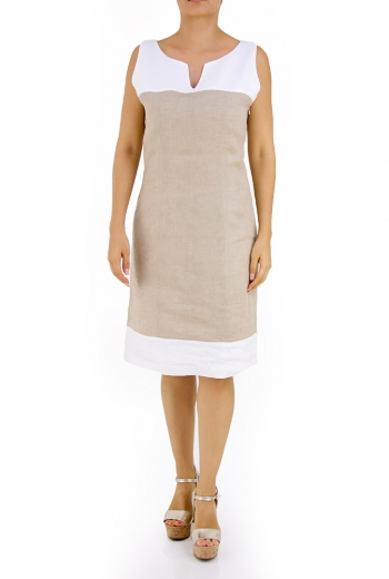 100% Linen Khaki Dress With Details DRESSES