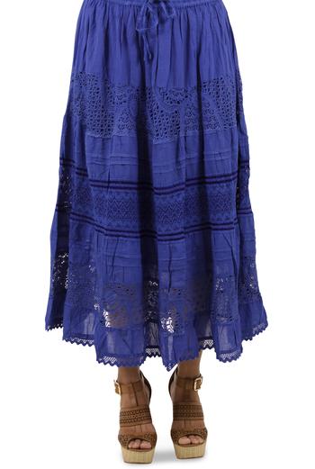 Falda Azul de Algodón Larga FALDAS