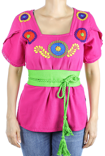 Pink Color Cotton Short Sleve Hand Embroidered Top TOPS