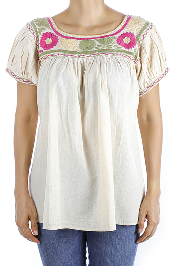 Ivory Color Linen Hand Embroidered Blouse TOPS