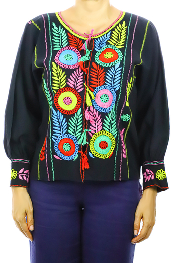 Black Cotton Hand Embroidered Blouse TOPS