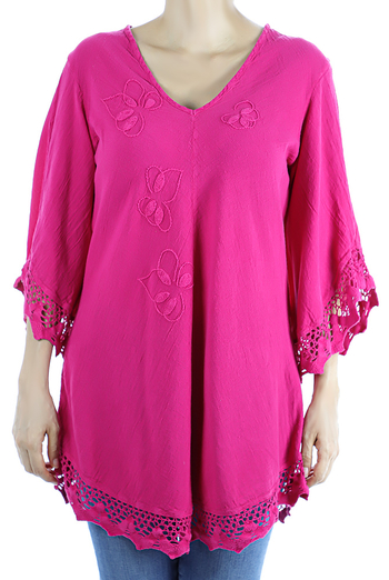 Pink Color Cotton Long Sleve Hand Embroidered Crochet Top TOPS