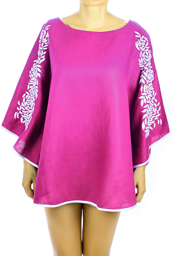 Pink Linen Top With Handmade Embroidery Mexican Art TOPS