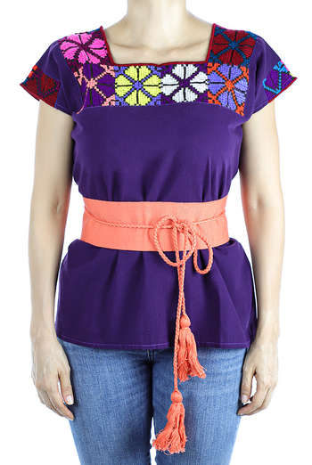 Purple Color Cotton Short Sleve Hand Embroidered Top TOPS