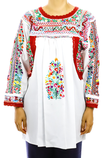 Mexican Traditional High Quality Cotton Hand Embroidered Blouse TOPS