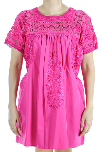 Mexican Traditional HandMade Pink San Antonino Top TOPS