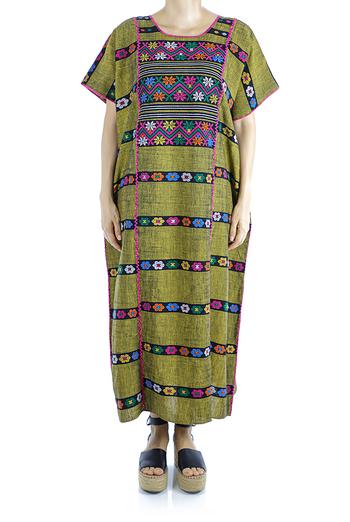 Vestido Tradicional Mexicano De Telar de Cintura Color Verde Huipil Extra Fino MUJER