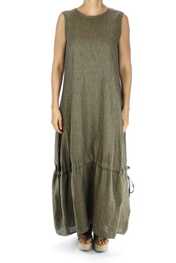 Green Linen Maxi Dress DRESSES