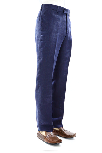 Tailored Fit Blue Natural Linen Trouser for Men TROUSERS