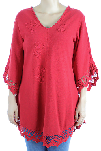 Red Color Cotton Long Sleve Hand Embroidered Crochet Top TOPS
