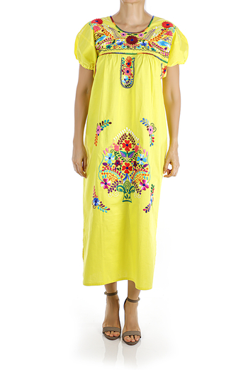 Yellow Color Handmade Embroidered Cotton Dress WOMEN