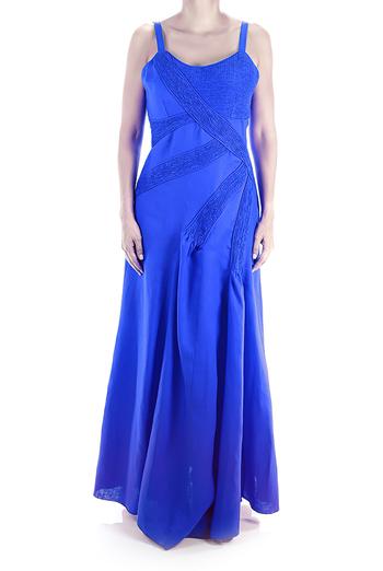 100% Pure Linen Maxi Dress With Pleats Royal Blue DRESSES