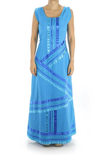 Long Blue Cotton Dress With Ribbon WOMEN
