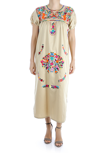 Beige Color Handmade Embroidered Cotton Dress WOMEN