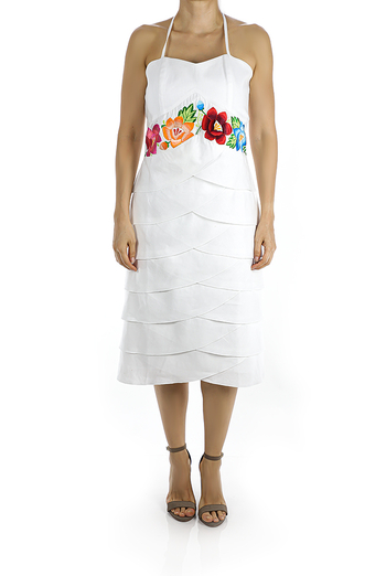 Below Knee White Linen Dress With Handmade Embroidery DRESSES