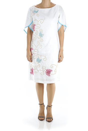 White Linen Dress With Handmade Embroidery For Wedding DRESSES