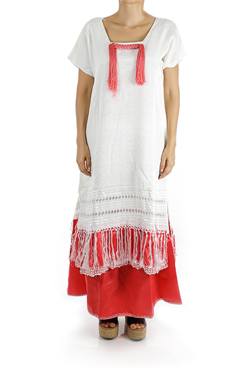 Traditional Mexican Handmade White Rebozo Dress Handmade WOMEN