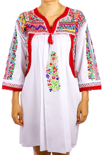 Fine Mexican Traditional HandMade White San Antonino Blouse / Dress TOPS
