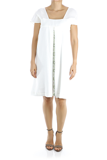 Short White Linen Dress With Embroidery DRESSES