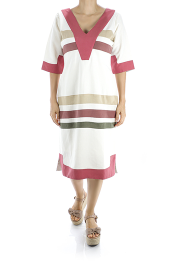 Vestido de Lino Blanco Con Combinaciones De Colores Mangas de 3/4 VESTIDOS