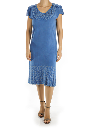 Knee Length Dress Features a Beautiful Denim Fabric and Embroidery WOMEN