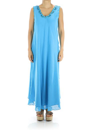 Vestido Largo de Algodón Azul Con Crochet Hecho a Mano MUJER