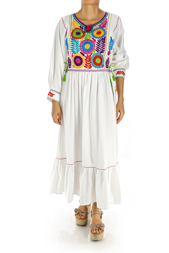 White Handmade Embroidered Cotton Dress WOMEN