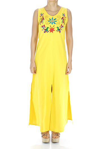 Yellow Color Elegant Handmade Embroidered Cotton Dress WOMEN