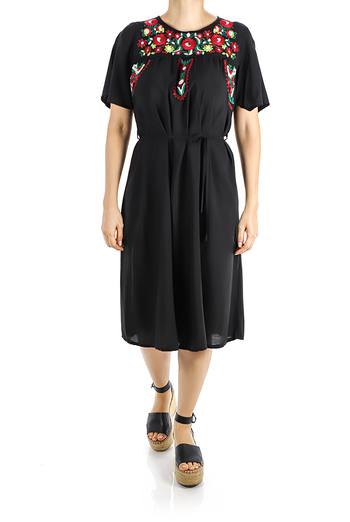 Knee Length Black Cotton Dress With Embroidery WOMEN