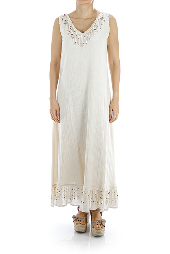 Hermoso Vestido Blanco Mexicano Con Crochet a Mano MUJER