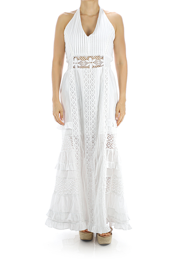 Long White Party Dress Cotton with Fine Lace WOMEN