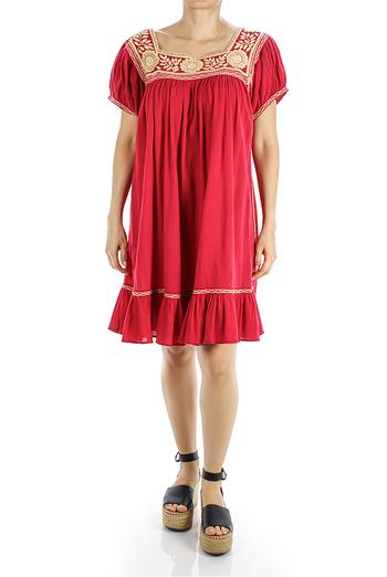 Vestido de Lino Con Bordado a Mano Beige Artesanal Color Rojo MUJER