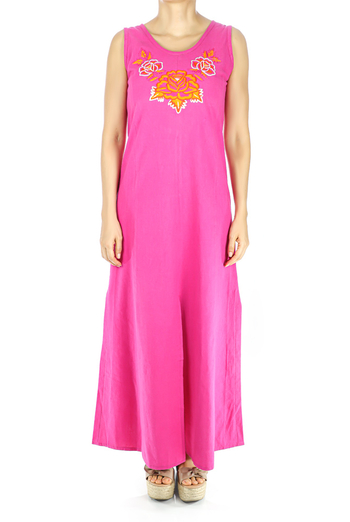 Pink Color Handmade Embroidered Cotton Dress WOMEN
