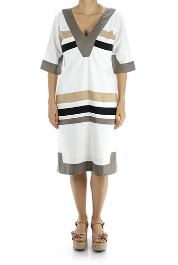 White Linen Dress With 3/4 Long Sleeves DRESSES