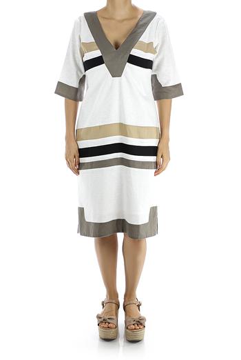 Vestido de Lino Blanco Mangas de 3/4 VESTIDOS