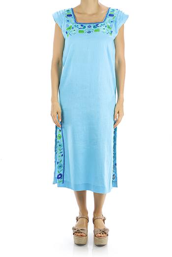 Aqua Colored Linen Dress With Handmade Embroidery DRESSES