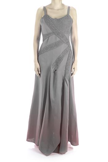 100% Pure Linen Long Dress With Pleats Gray Color DRESSES