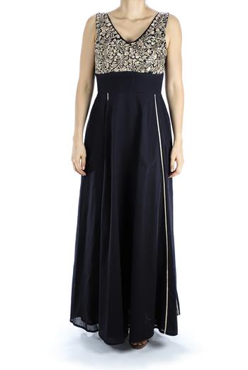 Modern San Antonino Dress Hand Embroidered Black Color DRESSES