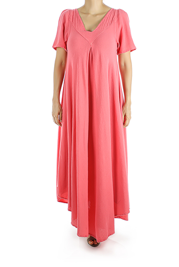 Long Dress Features a Beautiful Salmon Color WOMEN