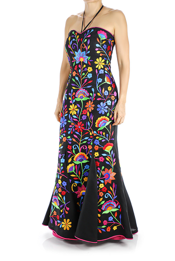 Black Linen Dress With Exclusive Handmade Embroidery from Keten DRESSES