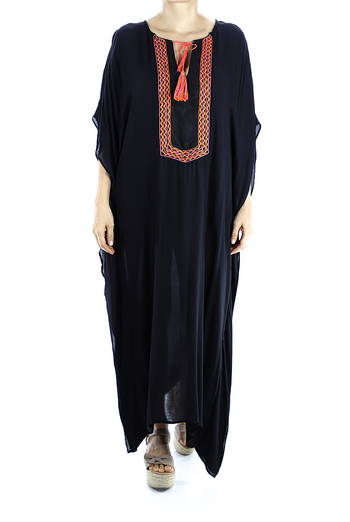 Black Color Handmade Embroidered Cotton Dress WOMEN