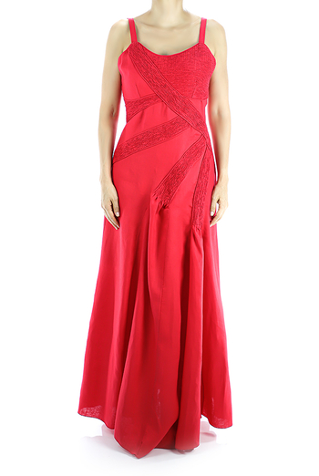 100% Pure Red Linen Maxi Dress With Pleats DRESSES