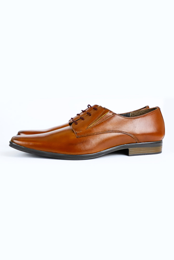 Cognac Color (Brownish) Attached Leather Shoes For Men SHOES FOR MEN