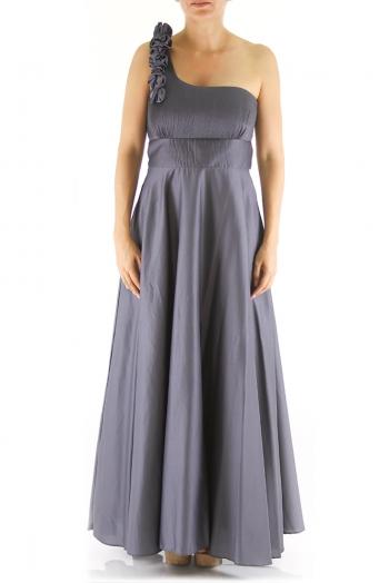 One-Shoulder Egyptian Cotton Maxi Dress Grey Color DRESSES