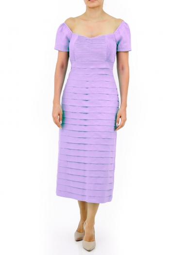 Aqua Long Dress 100% Linen Violet Color DRESSES
