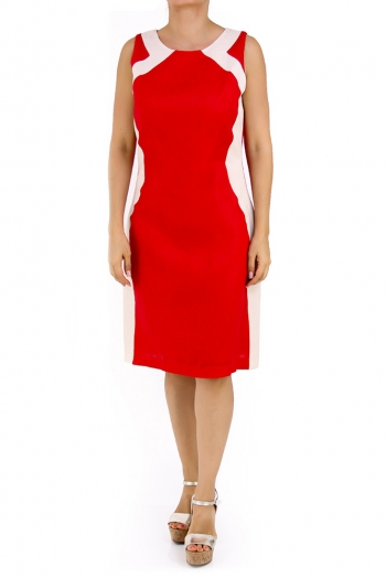 Beautiful Linen Dress 100% in Red Color DRESSES