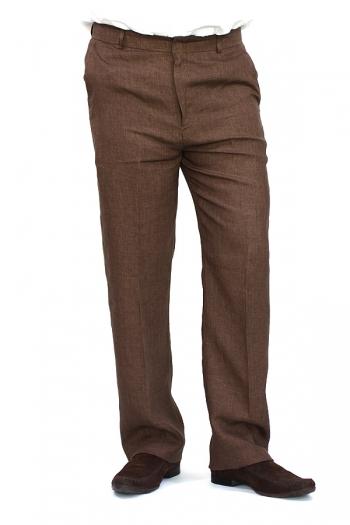 Pantalón de Lino Color Café Jaspeado