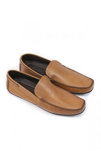 Handmade Leather Saddle Loafers, Tan SHOES